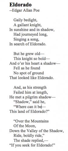 Eldorado Edgar Allan Poe Poem Pinterest Image Two