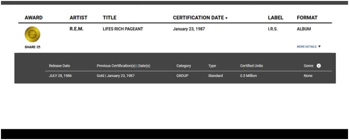 RIAA Gold Album Image Two